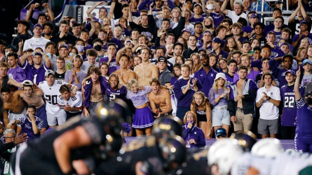 The Northwestern Wildcats student section cheers before the snap during the second quarter of the game against the Michigan State Spartans at Ryan Field. Jon Durr-USA TODAY Sports