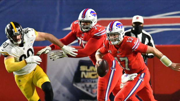 How often Bills QB Josh Allen is forced to run for his life against the Steelers could be the determining factor in Sunday's game.