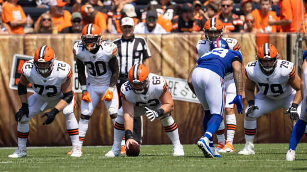 Aug 22, 2021; Cleveland, Ohio, USA; Cleveland Browns center Blake Hance (62) and offensive guard Colby Gossett (72) at the line of scrimmage with offensive guard Drew Forbes (79) against the New York Giants during the second quarter at FirstEnergy Stadium. Mandatory Credit: Scott Galvin-USA TODAY Sports