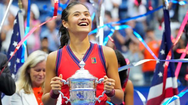 Emma Raducanu after winning the 2021 U.S. Open.