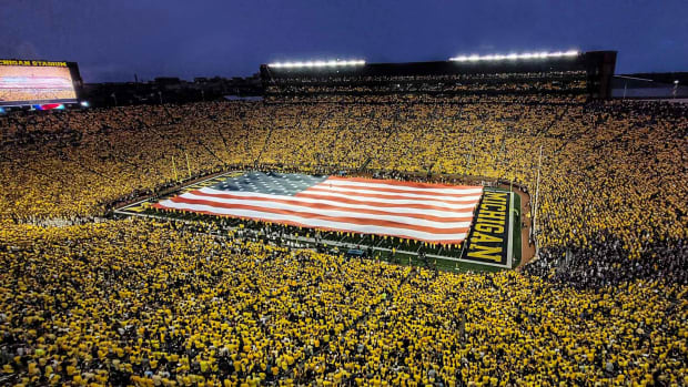 michigan football stadium the big house maize out american flag