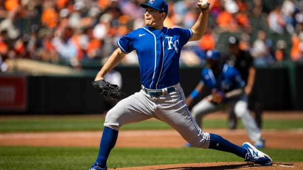 Sep 6, 2021; Baltimore, Maryland, USA; Kansas City Royals starting pitcher Kris Bubic (50) pitches against the Baltimore Orioles during the third inning at Oriole Park at Camden Yards. Mandatory Credit: Scott Taetsch-USA TODAY Sports