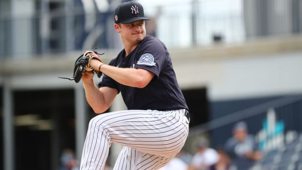 Yankees SP Clarke Schmidt pitching in spring training
