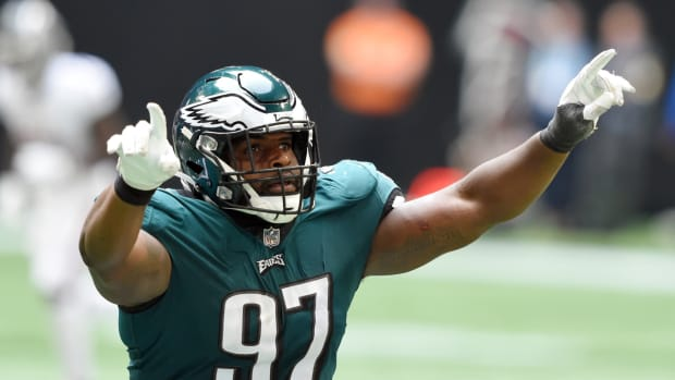 Javon Hargrave celebrates a big play in Eagles' 32-6 rout of the Atlanta Falcons on opening day