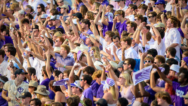 Sep 11, 2021; Fort Worth, Texas, USA; The TCU Horned Frogs students and fans cheer for the Frogs during the second half of the game between the TCU Horned Frogs and the California Golden Bears at Amon G. Carter Stadium.