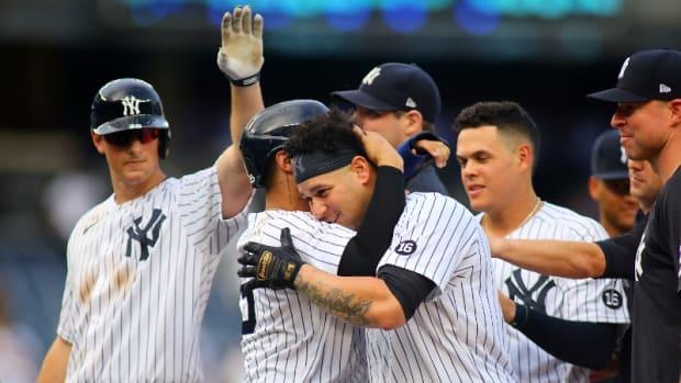 Yankees catcher Gary Sanchez celebrates walk-off