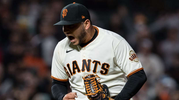 San Francisco Giants closing pitcher Kervin Castro (76) reacts after defeating the San Diego Padres at Oracle Park.