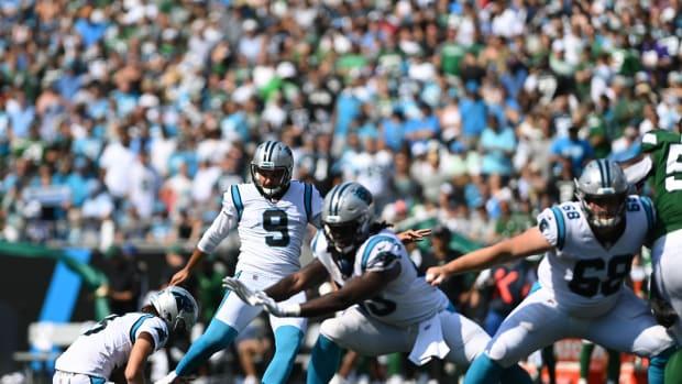 Sep 12, 2021; Charlotte, North Carolina, USA; Carolina Panthers kicker Ryan Santoso (9) kicks a field goal in the fourth quarter at Bank of America Stadium.