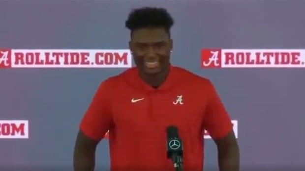 Jordan Battle at an Alabama press conference