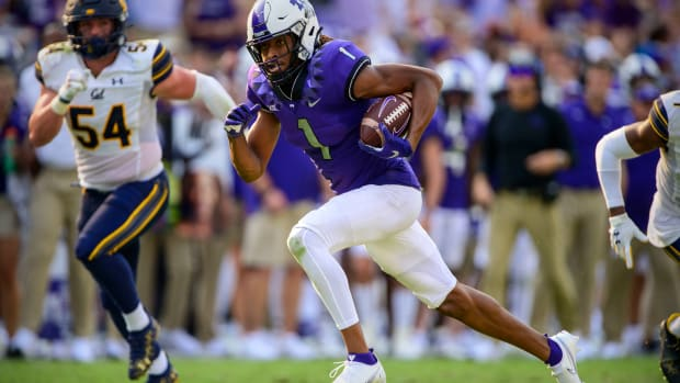 Sep 11, 2021; Fort Worth, Texas, USA; TCU Horned Frogs wide receiver Quentin Johnston (1) scores a touchdown against the California Golden Bears during the second half of the game at Amon G. Carter Stadium.