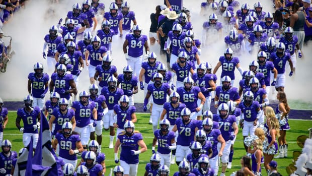 Sep 11, 2021; Fort Worth, Texas, USA; The TCU Horned Frogs team takes the field before the game between the TCU Horned Frogs and the California Golden Bears at Amon G. Carter Stadium.
