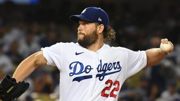 Los Angeles Dodgers starting pitcher Clayton Kershaw (22) pitches against the Arizona Diamondbacks in the first inning at Dodger Stadium.