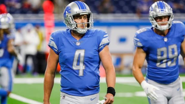Detroit Lions kicker Randy Bullock (4) during warm-ups before the preseason game Friday, Aug, 13, 2021 against Buffalo Bills at Ford Field in Detroit.