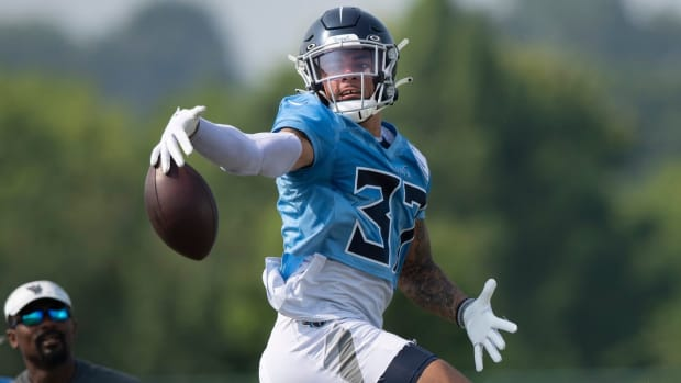 Tennessee Titans defensive back Amani Hooker (37) deflects a pass during a training camp practice at Saint Thomas Sports Park Monday, Aug. 2, 2021 in Nashville, Tenn.