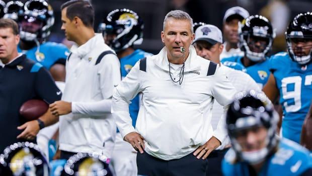 Urban Meyer coaching the Jaguars.