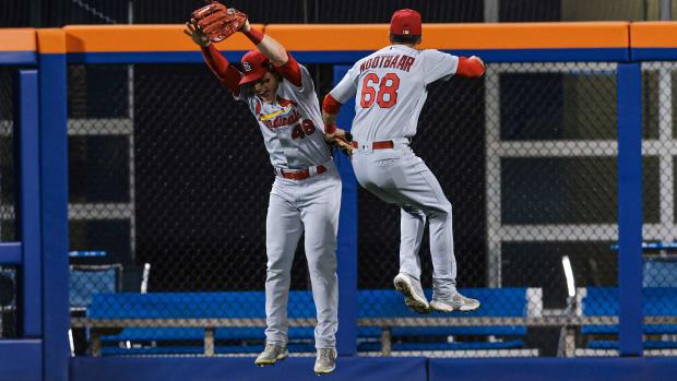 Cardinals' Lars Nootbaar celebrates after robbing a home run