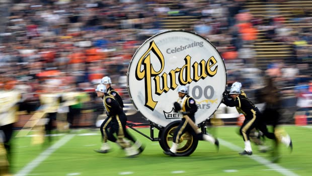 Sep 4, 2021; West Lafayette, Indiana, USA; The Purdue Big Bass Drum is pulled onto the field before the game between the Purdue Boilermakers and the Oregon State Beavers at Ross-Ade Stadium.