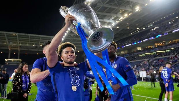 Reece James celebrating Chelsea's Champions League final win.
