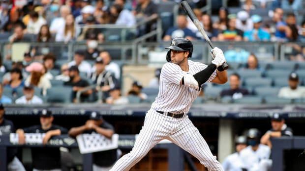 Sep 5, 2021; Bronx, New York, USA; New York Yankees left fielder Joey Gallo (13) at Yankee Stadium.