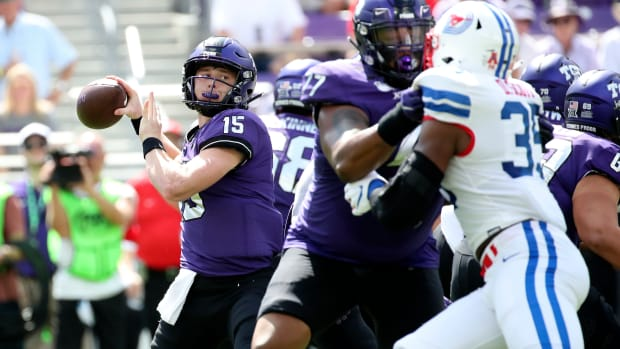 Sep 21, 2019; Fort Worth, TX, USA; TCU Horned Frogs quarterback Max Duggan (15) throws during the first quarter against the Southern Methodist Mustangs at Amon G. Carter Stadium.