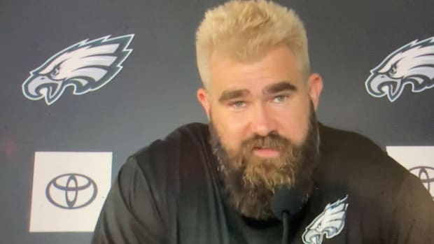 Jason Kelce reveals why he tied his hair blonde - he lost a bet with Zach Ertz