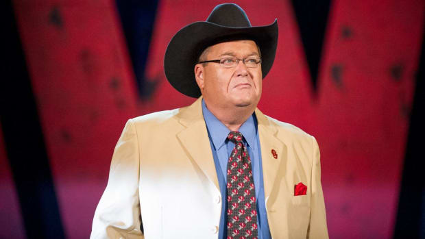 Closeup of wrestling announcer Jim Ross in his trademark cowboy hat