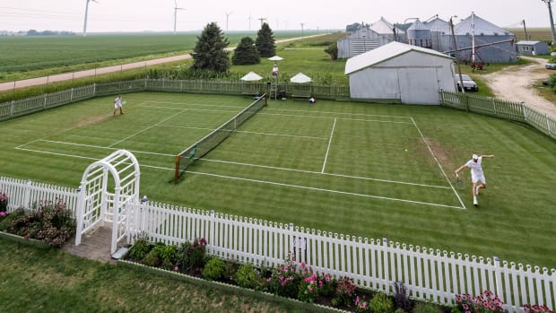 To reach the All Iowa Lawn Tennis Club, you have to drive up a gravel road.