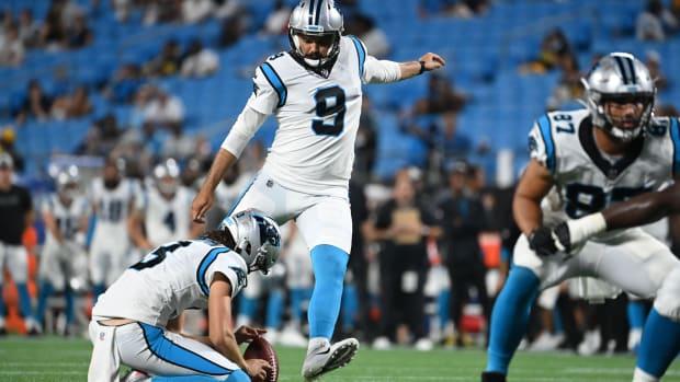 Carolina Panthers kicker Ryan Santoso (9) kicks a field goal in the fourth quarter at Bank of America Stadium.