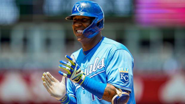 Sep 16, 2021; Kansas City, Missouri, USA; Kansas City Royals designated hitter Salvador Perez (13) rounds the bases after hitting a home run against the Oakland Athletics during the first inning at Kauffman Stadium.
