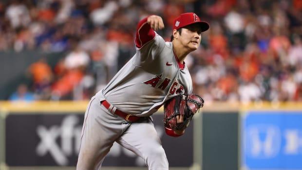 Shohei Ohtani pitching against Houston.