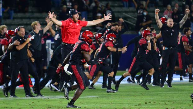San Diego State celebrates after beating Utah.