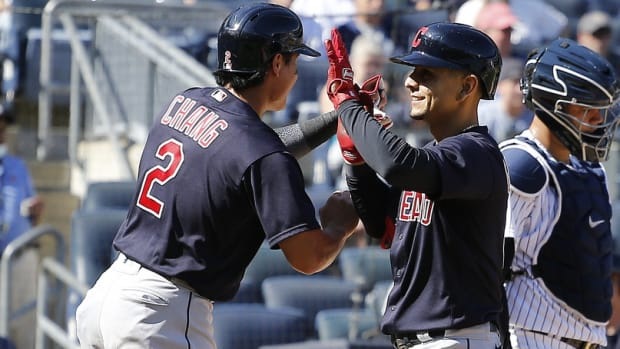 Cleveland Indians celebrate in front of Yankees catcher Gary Sanchez