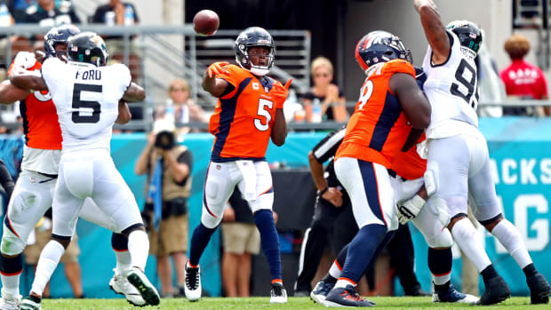 Denver Broncos quarterback Teddy Bridgewater (5) throws a pass during the second quarter against the Jacksonville Jaguars at TIAA Bank Field.