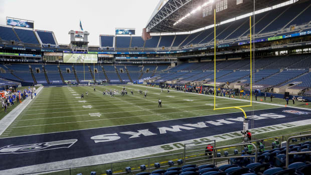 General view of Lumen Field during the third quarter of a game between the Los Angeles Rams and Seattle Seahawks.