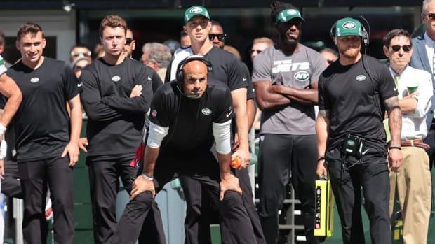 Jets head coach Robert Saleh looks on from sideline