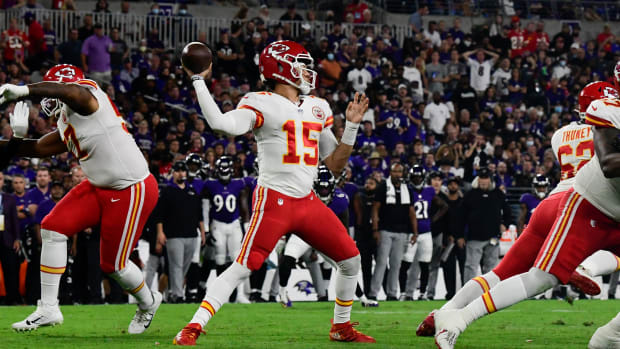 Sep 19, 2021; Baltimore, Maryland, USA; Kansas City Chiefs quarterback Patrick Mahomes (15) throws from the pocket during the first half ]against the Baltimore Ravens at M&T Bank Stadium. Mandatory Credit: Tommy Gilligan-USA TODAY Sports