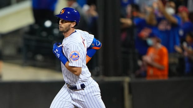 Sep 19, 2021; New York City, New York, USA; New York Mets left fielder Jeff McNeil (6) rounds the bases after hitting a home run during the seventh inning against the Philadelphia Phillies at Citi Field.