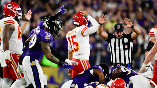Patrick Mahomes (15) reacts after Baltimore Ravens recovered running back Clyde Edwards-Helaire's fumble.
