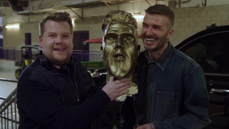 WATCH: James Corden Pranks David Beckham With Fake Statue Reveal