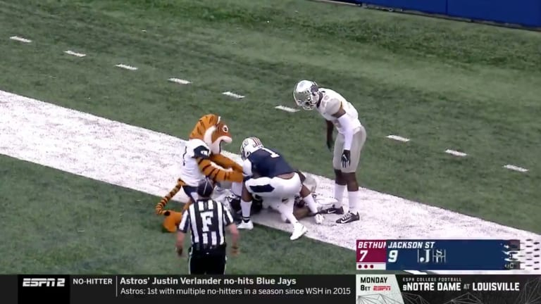 Jackson State Mascot Earns Personal Foul Penalty After Beautiful Touchdown Catch