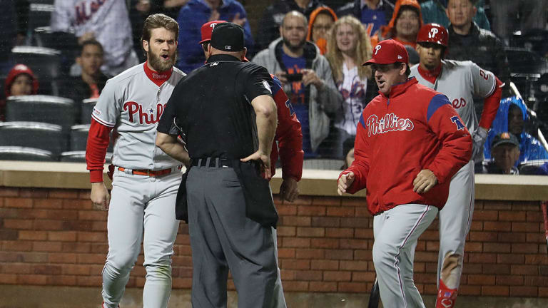 Watch: Bryce Harper Ejected From Dugout in Phillies vs. Mets