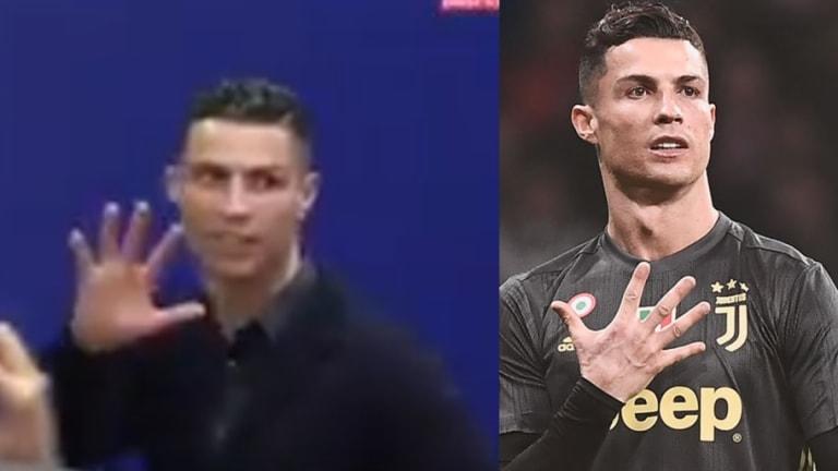 VÍDEO | Cristiano Ronaldo le muestra su 'manita' a la prensa y a la afición del Atlético de Madrid