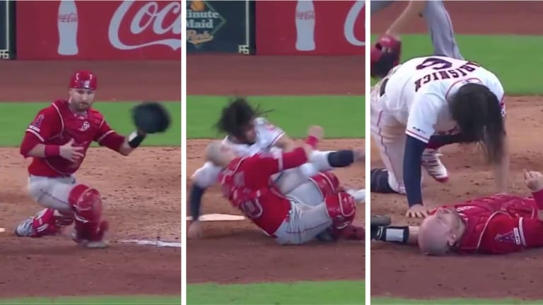 Angels Catcher Jonathan Lucroy Carted Off Following Home Plate Collision