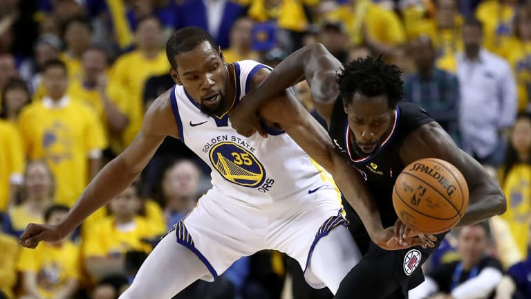 Watch: Kevin Durant and Patrick Beverley Called for Double Technicals, Ejected in Game 1