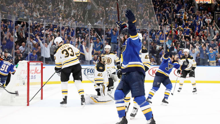 Blues Bounce Back Against Bruins to Take Game 4, Even Series