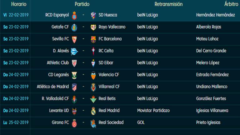 Todos los partidos, horarios y TV de la jornada 25 de LaLiga Santander