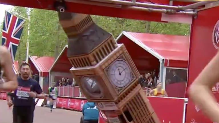 Watch: London Marathon Runner Dressed as Big Ben Struggles to Fit Under Finish Line