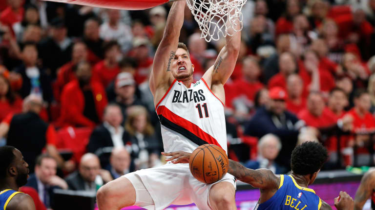Meyers Leonard Goes Off in First Half of Game 4 vs. Warriors, Twitter Loses It