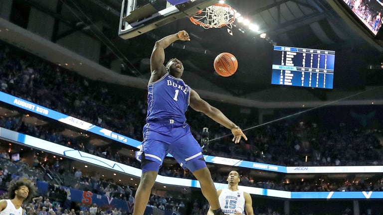 Watch: Duke's Zion Williamson Throws Down Thunderous Tomahawk Dunk vs. UNC