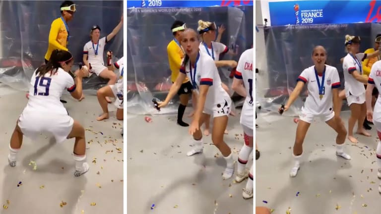 Alex Morgan Gets Lit With the USWNT During World Cup Title Celebration